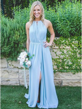 A-Line Halter Slit Leg Light Blue Chiffon Bridesmaid Dress with Pleats