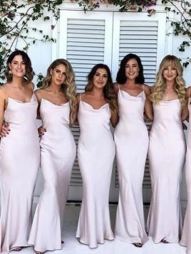 Elegant Simple Spaghetti Straps Sheath Long Pearl Pink Bridesmaid Dress
