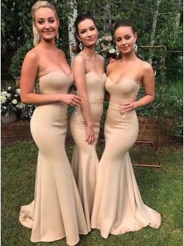 Sweetheart Long Mermaid Prom Party Dress Champagne Bridesmaid Dress