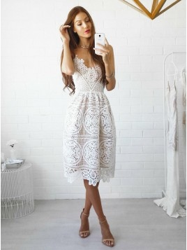 A-Line Spaghetti Straps Knee-Length White Lace Prom/Homecoming Dress
