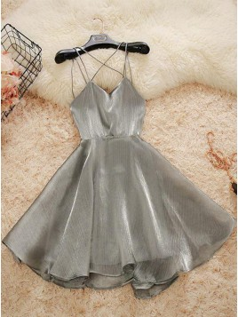 Short Spaghetti Straps Simple Silver Homecoming Dress