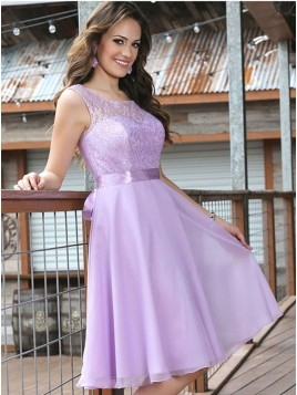 A-Line Crew Sleeveless Lavender Chiffon Homecoming Dress with Lace Sashes