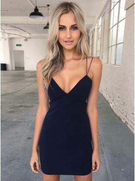 Bodycon Spaghetti Straps Black Short Homecoming Dress