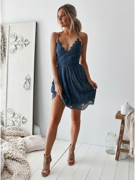 A-Line V-Neck Criss-Cross Straps Above-Knee Blue Lace Homecoming Dress