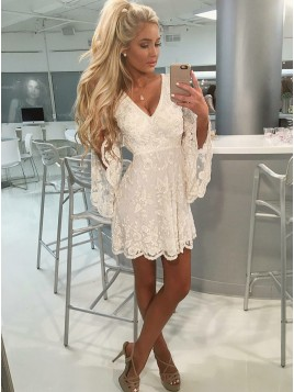 A-Line V-Neck Open Back Bell Sleeves Short White Lace Homecoming Dress with Beading