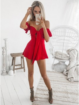 A-Line Off-the-Shoulder Short Sleeves Short Red Homecoming Cocktail Dress with Keyhole