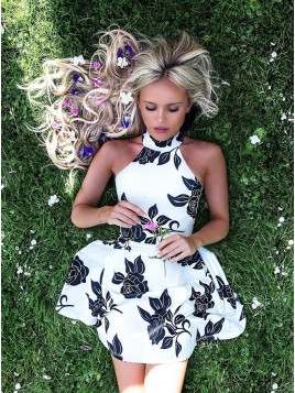 A-Line Halter Backless Short White Printed Homecoming Dress