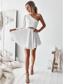 A-Line One Shoulder Above-Knee White Chiffon Homecoming Dress