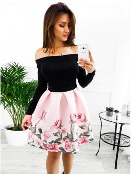 A-Line Off-the-Shoulder Above-Knee Pink Floral Homecoming Dress