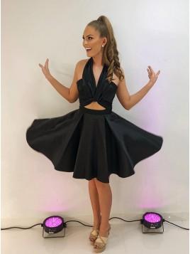 Short A Line Halter Backless Knee Length Black Homecoming Dress