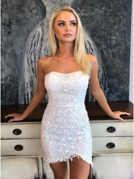 Strapless Short Lace White Homecoming Dress with Appliques