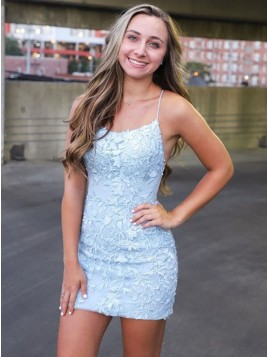Spaghetti Straps Light Blue Short Tight Homecoming Dress With Appliques