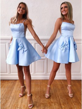 A-Line Short Satin Blue Homecoming Dress with Bowknot