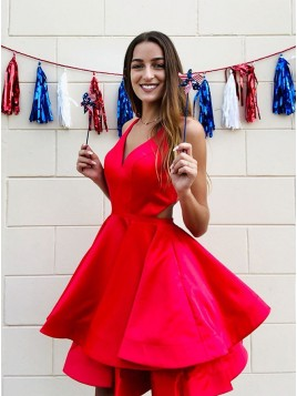 V-Neck Open Back Red Homecoming Dress with Tiered Short Party Dress