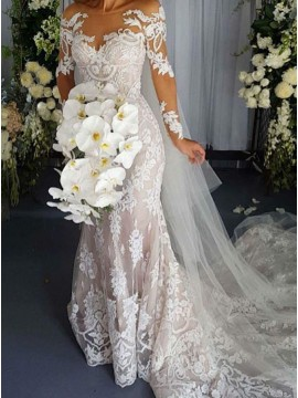 Mermaid Long Sleeves Lace Wedding Dress with Appliques Beading