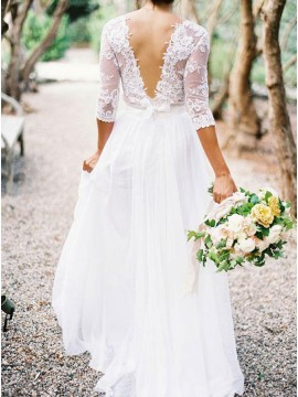 A-line Elegant V-neck 3/4 Lace Sleeves Lace Top Wedding Dresses
