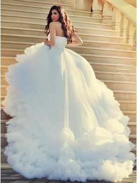 Ball Gown One Shoulder Court Train Wedding Dress with Beading Feathers