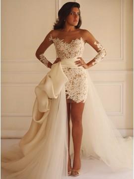 Sheath Round Long Illusion Sleeves Lace Wedding Dress with Sashes