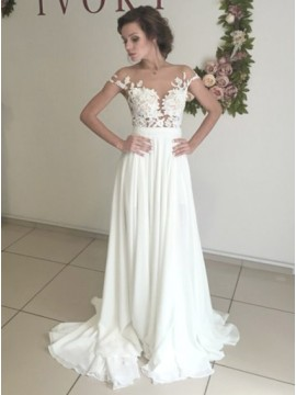 A-line Off-the-Shoulder Chiffon Wedding Dress with Appliques