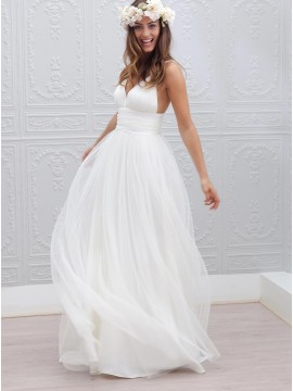A-Line V-neck Open Back Simple Tulle Wedding Dress with Ruched Sash