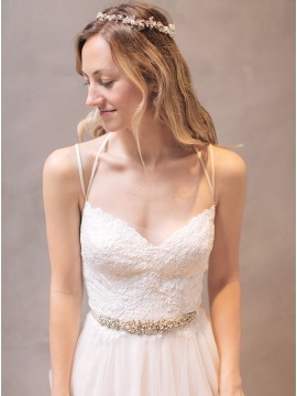 A-Line Spaghetti Straps Backless Wedding Dress with Beading Lace