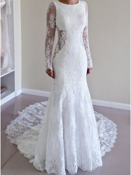 Mermaid Round Long Illusion Sleeves Court Train Backless Wedding Dress