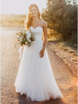 A-line Sweetheart Floor-Length White Wedding Dress with Lace Sashes