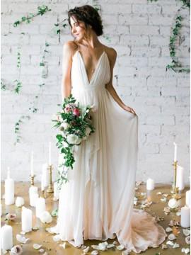 A-Line Deep V-Neck Backless Ivory Chiffon Wedding Dress with Pleats