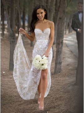 Sheath Sweetheart Leg slit Lace Sexy Wedding Dress with Sashes