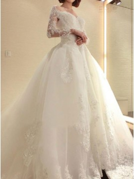 Ball Gown Off the Shoulder Long Sleeves Wedding Dress with Appliques Beading