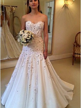 A-Line Sweetheart Sweep Train Lace Wedding Dress with Appliques