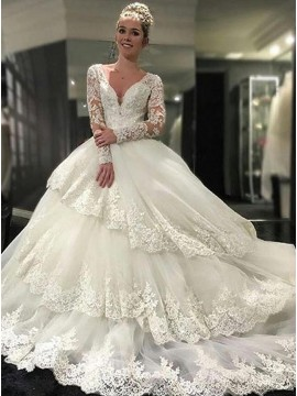 Ball Gown V-neck Open Back Tiered Long Sleeves Wedding Dress with Appliques