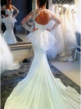 Mermaid Sweetheart Long Sleeves Open Back Court Train Wedding Dress