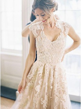 A-Line Elegant V-neck Cap Sleeves Wedding Dress with Lace
