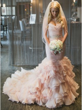 Mermaid Sweetheart Tiered Train Organza Wedding Dress with Beading