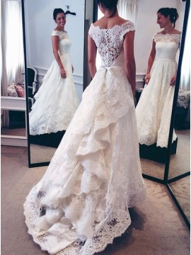 A-line Off-the-Shoulder Cap Sleeves Lace Wedding Dress with Sash Ruffles