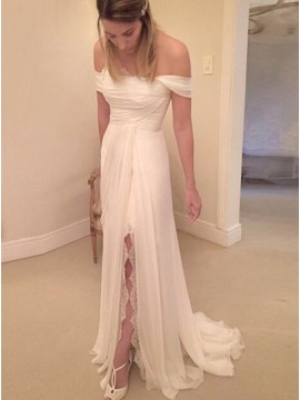 A-line Off-the-Shoulder Ruched Chiffon Wedding Dress with Lace