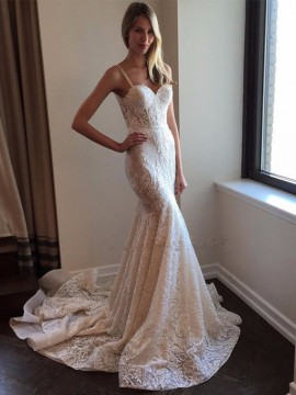Mermaid Spaghetti Straps Court Train Lace Wedding Dress with Appliques