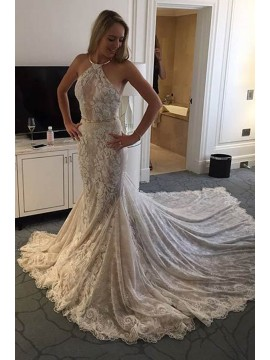 Mermaid Halter Court Train Lace Wedding Dress with Belt