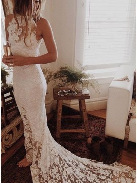 Mermaid High Neck Court Train Lace Wedding Dress with Appliques