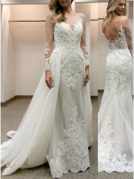 Sheath Illusion Bateau Neck Long Sleeves Wedding Dress with Lace Detachable Train