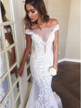 Mermaid Off-the-Shoulder Sweep Train Wedding Dress with Appliques