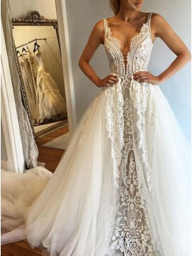 A-Line Deep V-Neck Sleeveless Court Train Wedding Dress with Lace