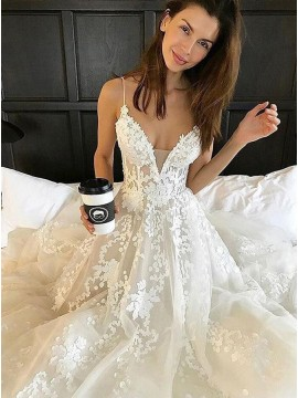 A-Line Spaghetti Straps Court Train Backless Wedding Dress with Appliques