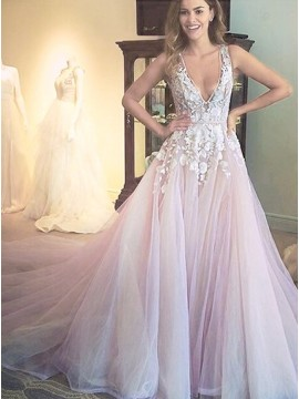 A-line Deep V-Neck Court Train Open Back Wedding Dress with Appliques