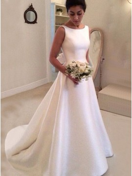 A-Line Simple Bateau Backless Sweep Train Wedding Dress with Bowknot