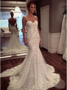 Mermaid Spaghetti Straps Backless Court Train Lace Wedding Dress with Appliques