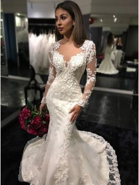 Mermaid Long Sleeves Illusion Back Glamorous Lace Wedding Dress