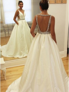 Ball Gown Deep V-Neck Open Back Ivory Sexy Wedding Dress with Beading Pockets