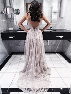 A-Line Spaghetti Straps Sweep Train Backless Lace Prom Dress